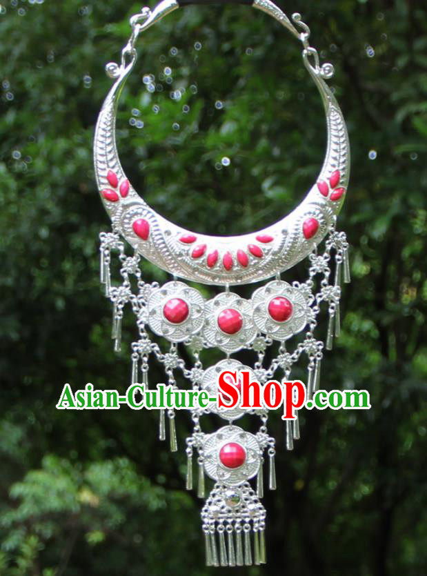 Chinese Traditional National Jewelry Accessories Ethnic Tassel Pink Necklace for Women
