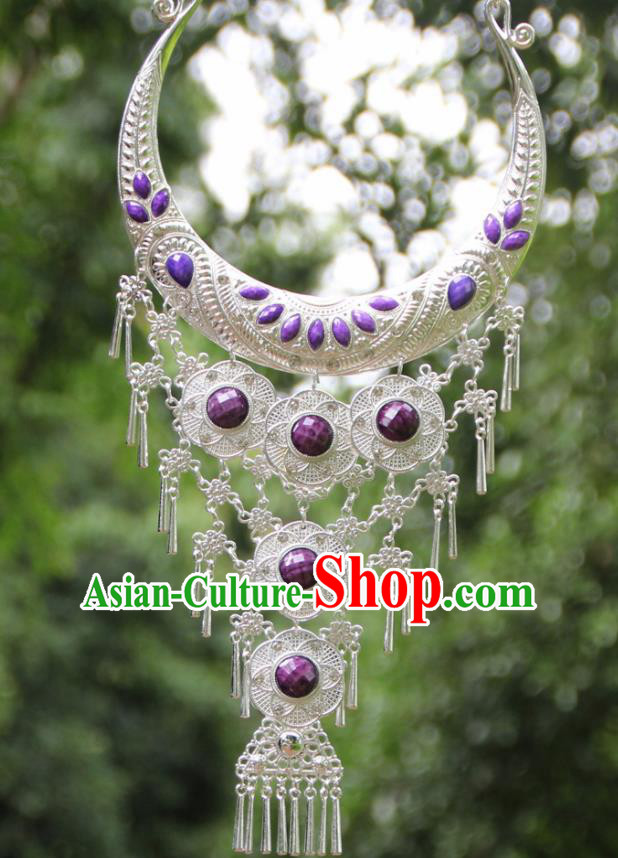 Chinese Traditional National Jewelry Accessories Ethnic Tassel Purple Necklace for Women