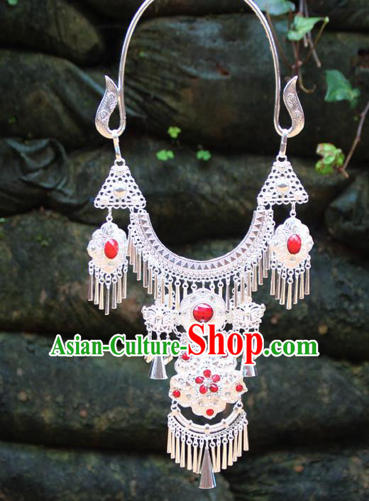 Chinese Ethnic Tassel Red Necklace Traditional National Jewelry Accessories for Women