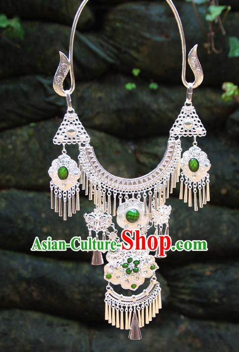 Chinese Ethnic Tassel Green Necklace Traditional National Jewelry Accessories for Women