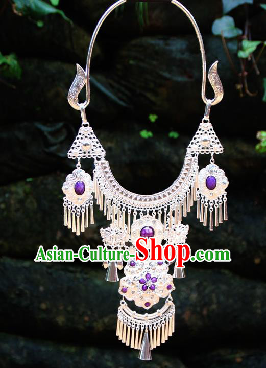 Chinese Ethnic Tassel Purple Necklace Traditional National Jewelry Accessories for Women