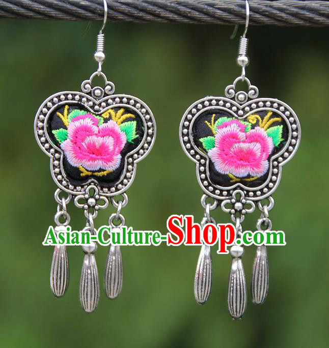 Chinese Traditional National Handmade Embroidered Pink Peony Earrings for Women