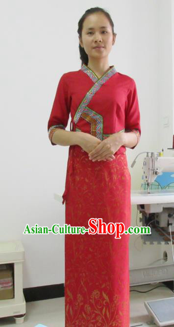 Asian Chinese Ethnic Costumes Traditional Dai Nationality Folk Dance Red Dress for Women