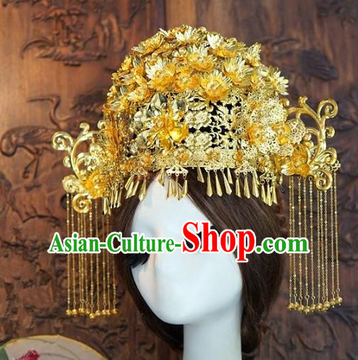 Chinese Handmade Classical Hairpins Hair Accessories Ancient Golden Tassel Phoenix Coronet for Women