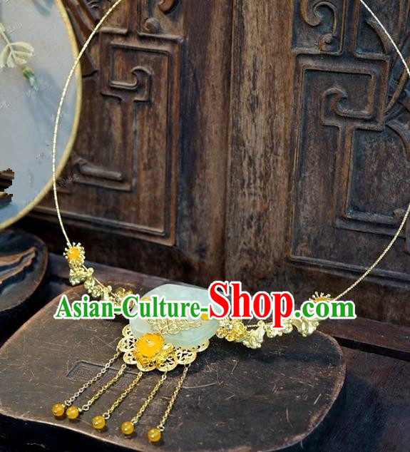 Asian Chinese Traditional Handmade Jewelry Accessories Bride Exaggerated Jade Necklace for Women