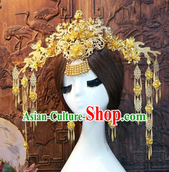 Chinese Handmade Classical Phoenix Coronet Tassel Hairpins Hair Accessories Ancient Bride Headwear for Women