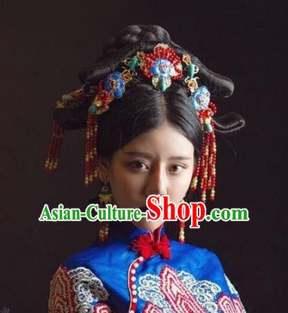 Chinese Handmade Classical Hairpins Cloisonne Hair Accessories Ancient Bride Headwear for Women