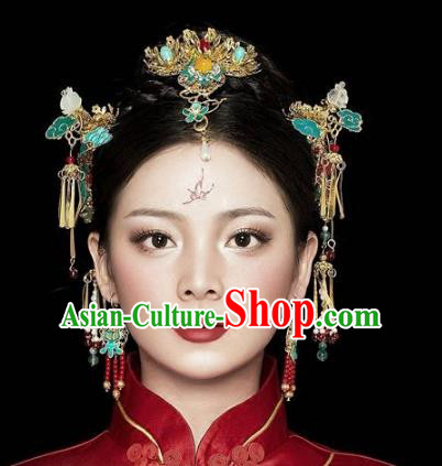 Chinese Handmade Classical Hairpins Cloisonne Hair Accessories Complete Set Ancient Bride Headwear for Women