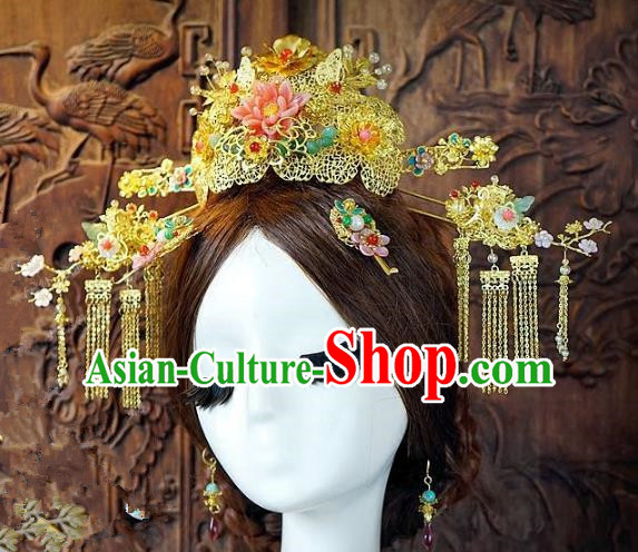 Chinese Handmade Classical Tassel Hairpins Hair Accessories Ancient Bride Phoenix Coronet for Women