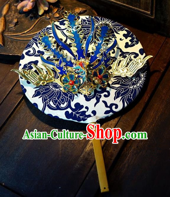 Chinese Handmade Classical Stage Performance Phoenix Fans Ancient Palace Lady Blue and White Porcelain Round Fans for Women
