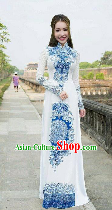 Asian Vietnam National Palace Costume Vietnamese Trational Dress Printing Ao Dai Cheongsam Clothing for Women