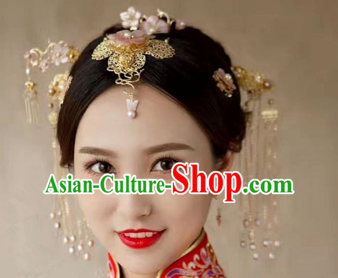Chinese Handmade Classical Xiuhe Hair Accessories Hair Clip Ancient Bride Hairpins for Women
