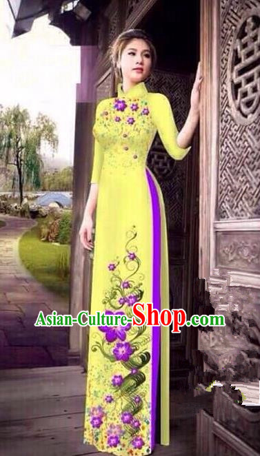 Asian Vietnam National Costume Vietnamese Bride Trational Dress Printing Petunia Yellow Ao Dai Cheongsam for Women