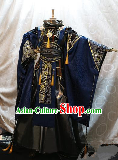 Ancient China Cosplay Han Dynasty Swordsman Costumes Royal Highness Clothing for Men