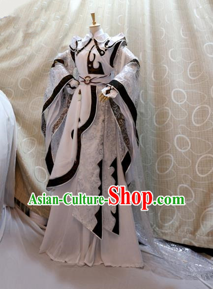 China Ancient Cosplay Swordswoman Clothing Traditional Tang Dynasty Princess White Dress for Women