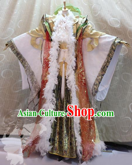 Ancient China Cosplay Imperial Emperor Costumes Swordsman Knight Embroidered Clothing for Men