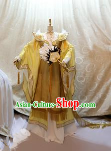 China Ancient Cosplay Swordswoman Clothing Traditional Palace Lady Yellow Dress Clothing for Women