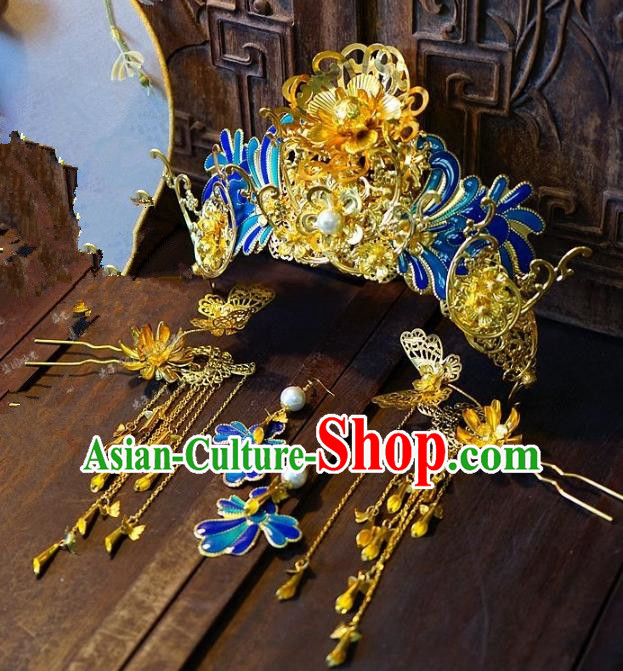 Chinese Handmade Classical Hair Accessories Hair Clip Ancient Blueing Hairpins Complete Set for Women