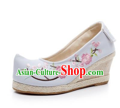 Asian Chinese Wedding Shoes Princess Blue Shoes, Traditional China Handmade Hanfu Embroidered Shoes
