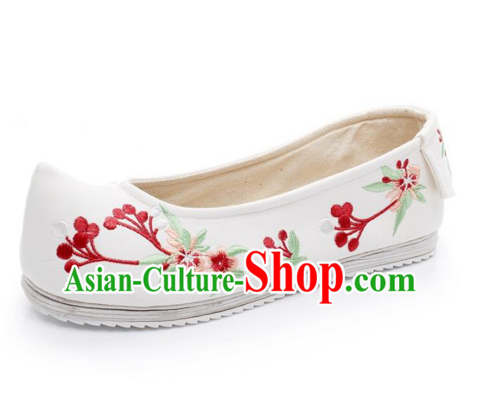 Asian Chinese Wedding Shoes Princess White Shoes, Traditional China Handmade Hanfu Embroidered Shoes