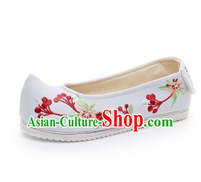 Asian Chinese Wedding Shoes Princess Shoes, Traditional China Handmade Hanfu Blue Embroidered Shoes