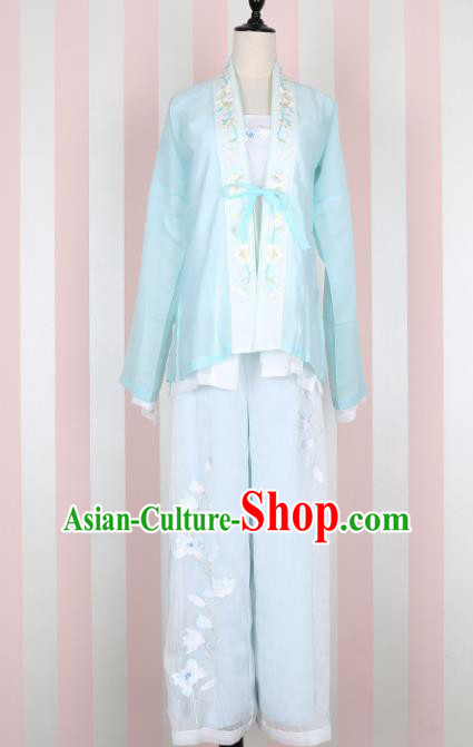 Ancient Chinese Song Dynasty Young Lady Swordswoman Embroidered Costume for Women
