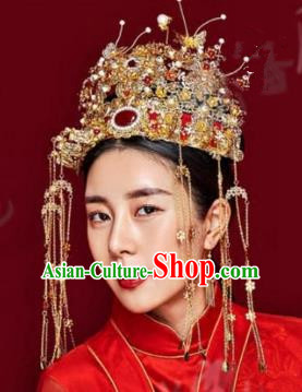 Chinese Handmade Classical Hair Accessories Ancient Tassel Phoenix Coronet Hairpins for Women