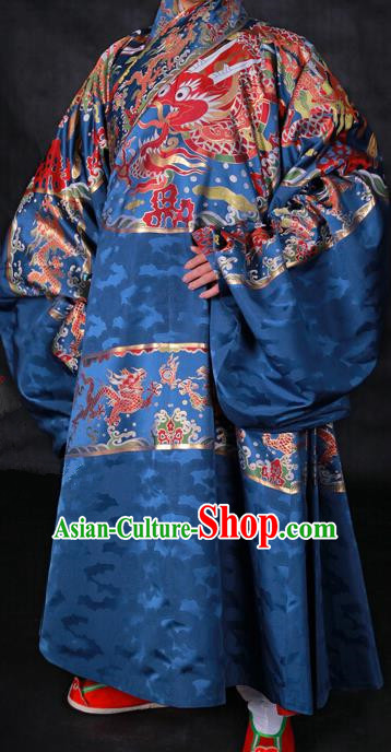 Ancient Chinese Ming Dynasty Palace Emperor Embroidered Costume Blue Robe for Men