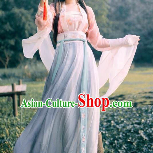 Ancient Chinese Ming Dynasty Young Lady Embroidered Costume, China Ancient Princess Clothing for Women