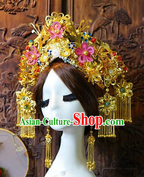 Chinese Handmade Classical Hair Accessories Ancient Empress Phoenix Coronet Hairpins Complete Set for Women