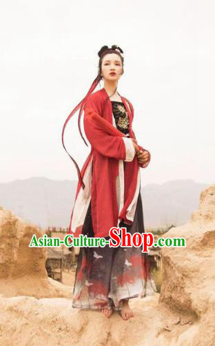 Ancient China Song Dynasty Young Lady Embroidered Costume Blouse and Pants Complete Set