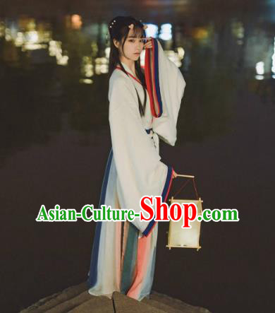 Ancient China Jin Dynasty Palace Lady Embroidered Costume for Women