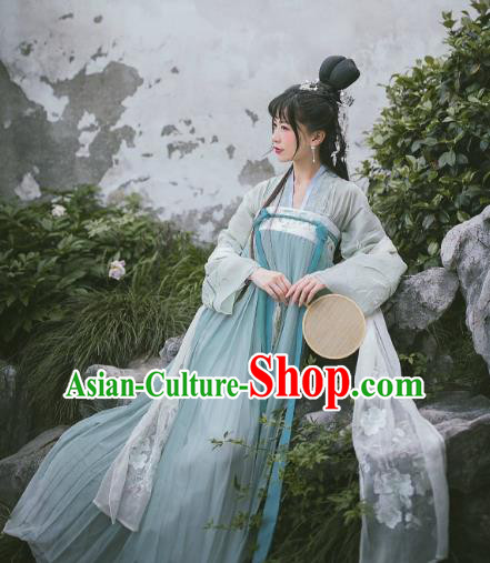 Ancient Traditional China Tang Dynasty Palace Princess Embroidered Costumes Slip Skirt Complete Set for Women