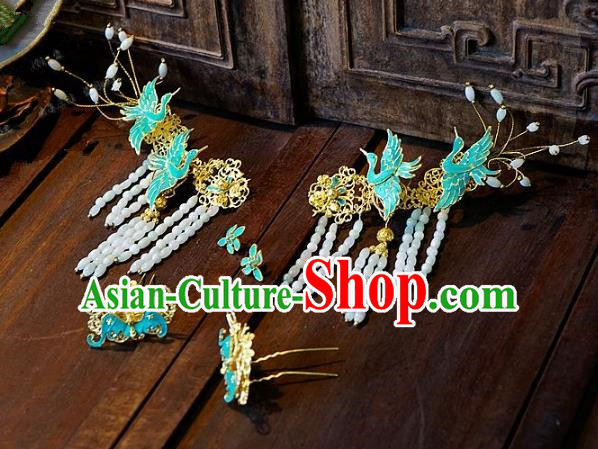 Chinese Handmade Classical Hair Accessories Ancient Cranes Hairpins Tassel Hair Clip for Women