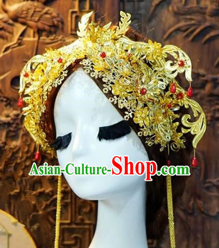 Chinese Handmade Classical Luxurious Phoenix Coronet Hairpins Tassel Hair Accessories Ancient Bride Headwear for Women