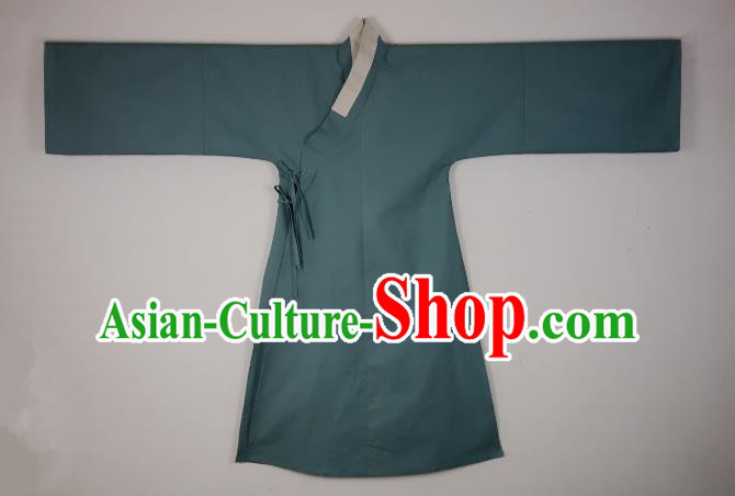 Ancient China Ming Dynasty Swordsman Costumes Blue Priest Frock for Men