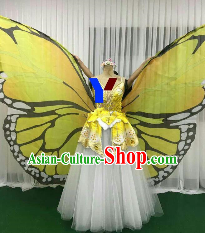 Professional Modern Dance Stage Performance Dress Halloween Costume and Yellow Butterfly Wings for Women