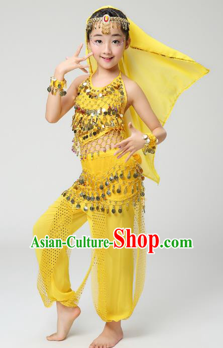 Traditional India Dance Yellow Costume, Asian Indian Belly Dance Paillette Clothing for Kids