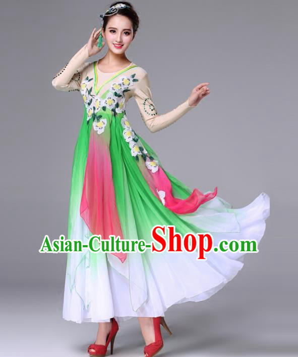 Traditional Chinese Yangge Fan Dance Costume, Folk Dance Yangko Classical Dance Green Dress for Women