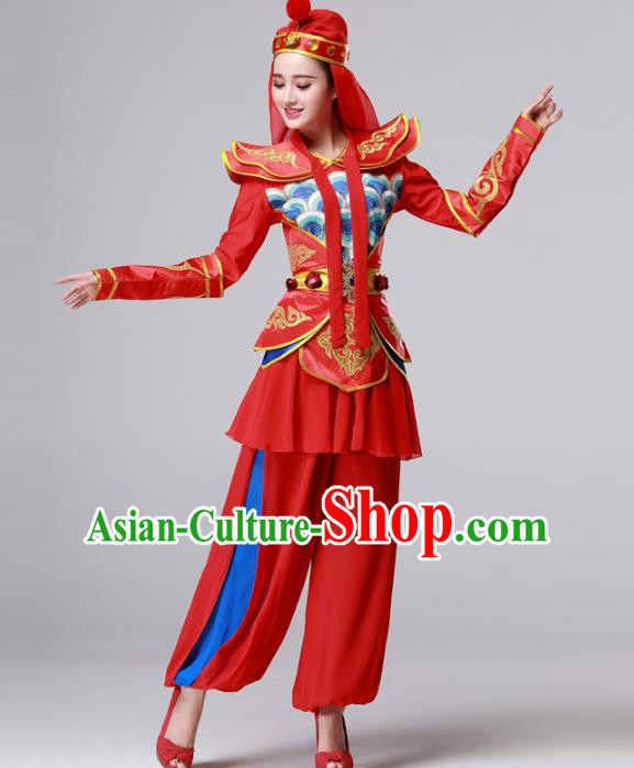Traditional Chinese Yangge Fan Dance Costume, Folk Yangko Dance Drum Dance Red Clothing for Women