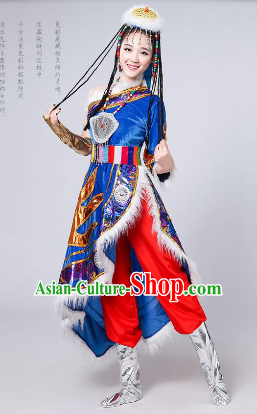 Traditional Chinese Mongol Nationality Dance Costume, Mongols Female Folk Dance Embroidery Blue Dress for Women