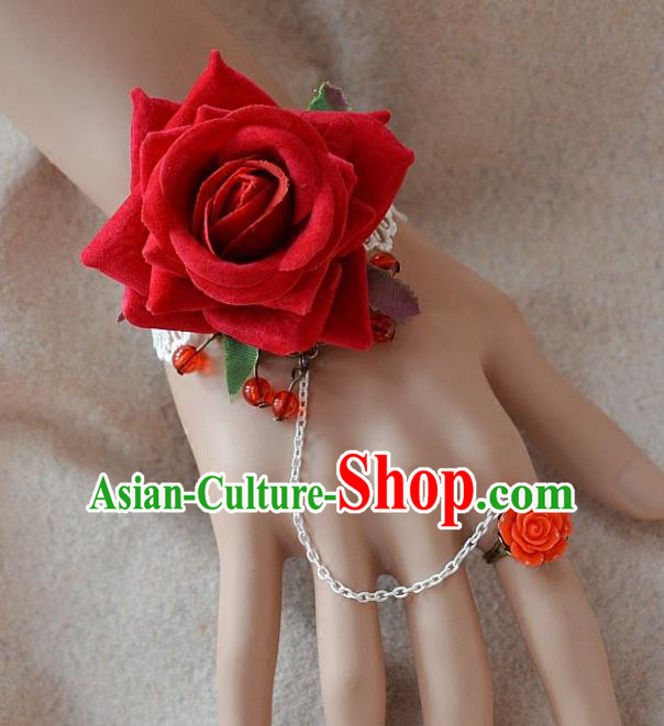 European Western Bride Wrist Flowers Vintage Renaissance Red Rose Bracelet with Ring for Women