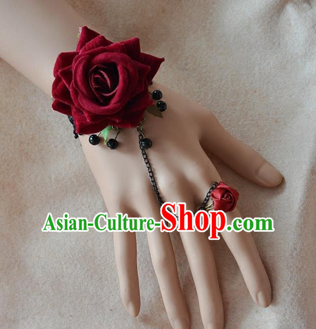European Western Bride Wrist Flowers Vintage Renaissance Wine Red Rose Bracelet with Ring for Women