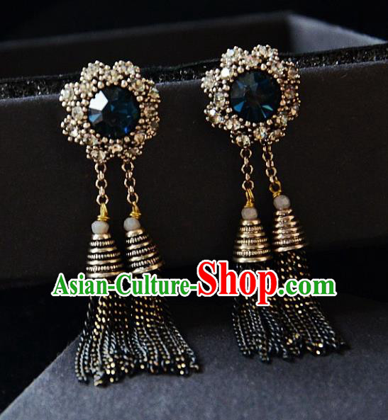 European Western Bride Vintage Jewelry Accessories Crystal Eardrop Renaissance Tassel Earrings for Women