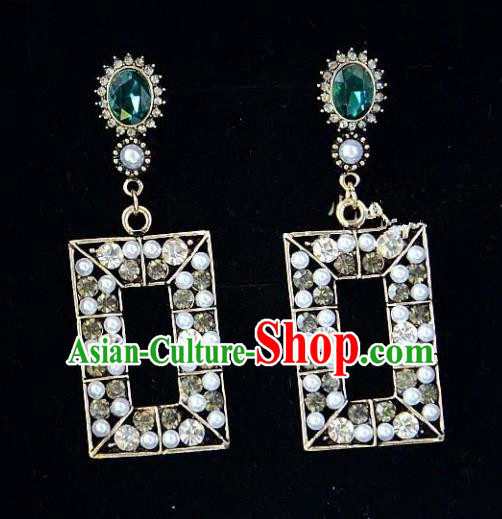 European Western Bride Vintage Jewelry Accessories Eardrop Renaissance Green Crystal Earrings for Women