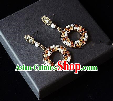 European Western Bride Vintage Jewelry Accessories Eardrop Renaissance Crystal Earrings for Women
