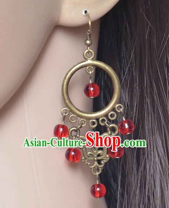 European Western Bride Vintage Jewelry Accessories Eardrop Renaissance Red Beads Gothic Earrings for Women