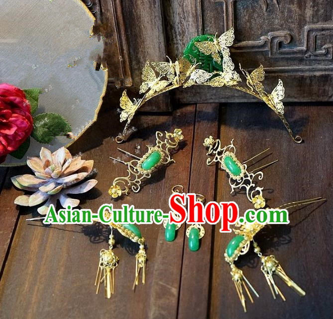 Chinese Handmade Classical Wedding Jade Hairpins Ancient Hanfu Hair Accessories Phoenix Coronet Complete Set for Women