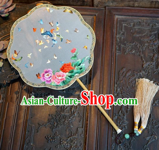 Chinese Handmade Classical Suzhou Embroidery Fans Ancient Palace Round Fans for Women