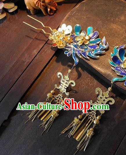 Chinese Handmade Classical Wedding Blueing Tassel Hairpins Ancient Hanfu Hair Clip Hair Accessories for Women